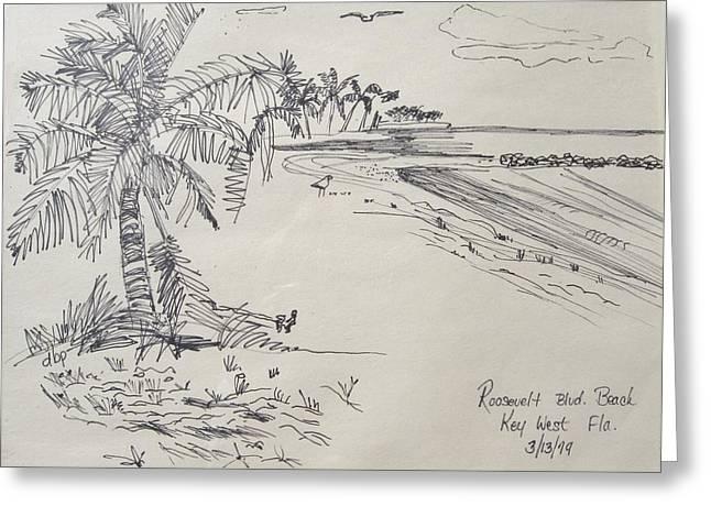Roosevelt Blvd Beach  Key West Fla Greeting Card by Diane Pape