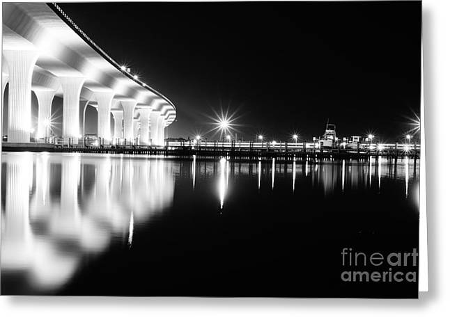 St. Lucie River Greeting Cards - Roosevelt Bridge and Night Train B W Greeting Card by Lynda Dawson-Youngclaus