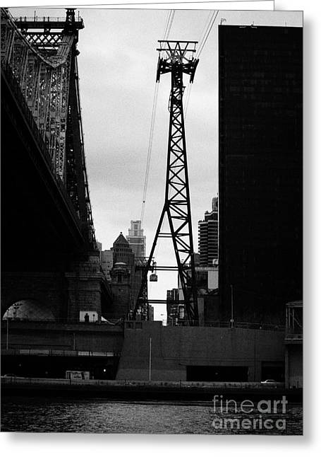 Manhatan Greeting Cards - Roosevelt island aerial tram cable car and queensboro bridge new york city Greeting Card by Joe Fox