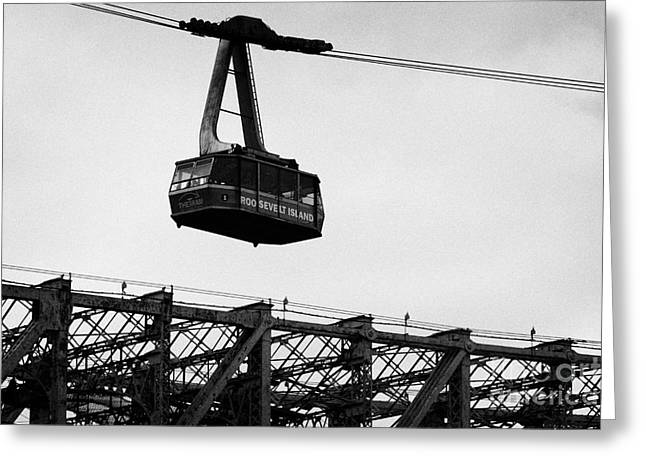 Roosevelt Island Aerial Tram Cable Car And Queensboro Bridge New York City Nyc Greeting Card by Joe Fox