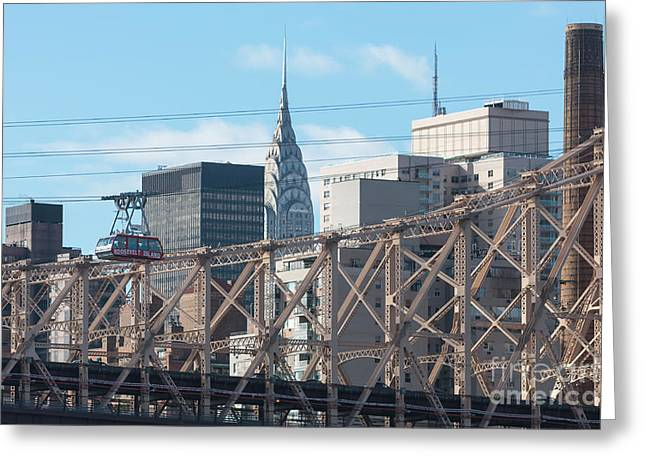 Aerial Tramway Greeting Cards - Roosevelt Island Tram and Manhattan Skyline I Greeting Card by Clarence Holmes