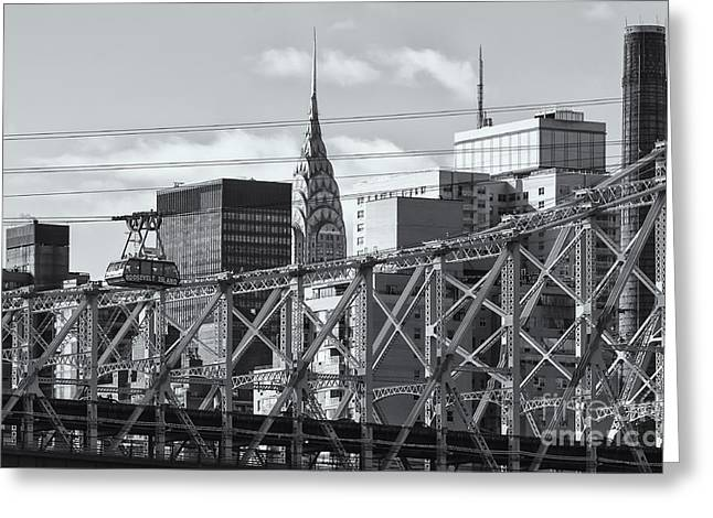 Aerial Tramway Greeting Cards - Roosevelt Island Tram and Manhattan Skyline II Greeting Card by Clarence Holmes
