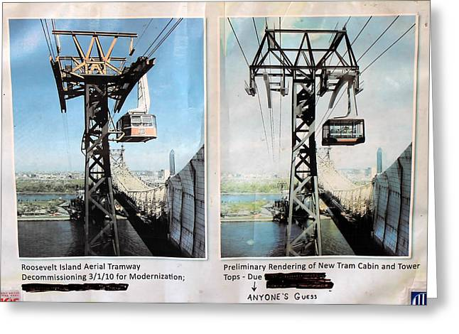 Aerial Tramway Greeting Cards - Roosevelt Island Tramway Greeting Card by Andrew Fare