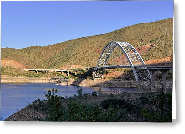 Roosevelt Lake Bridge Arizona Greeting Card by Christine Till