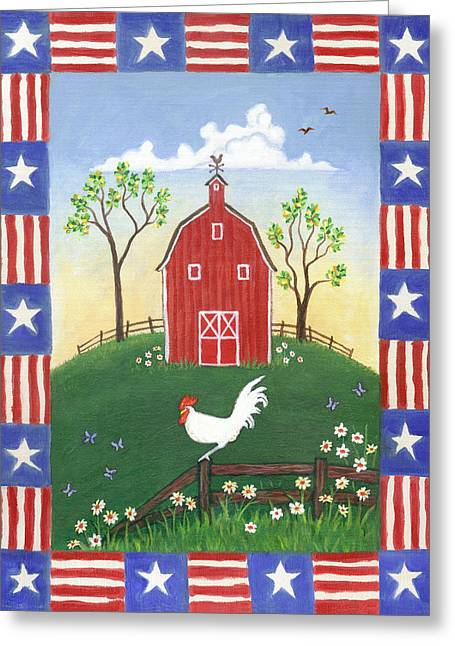 Chicken Greeting Cards - Rooster Americana Greeting Card by Linda Mears