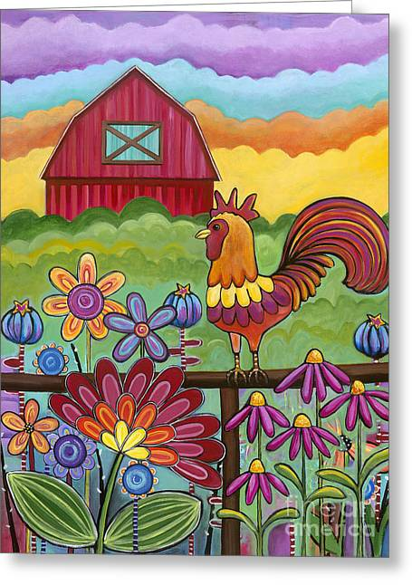 Carla Bank Greeting Cards - Rooster and Barn Greeting Card by Carla Bank