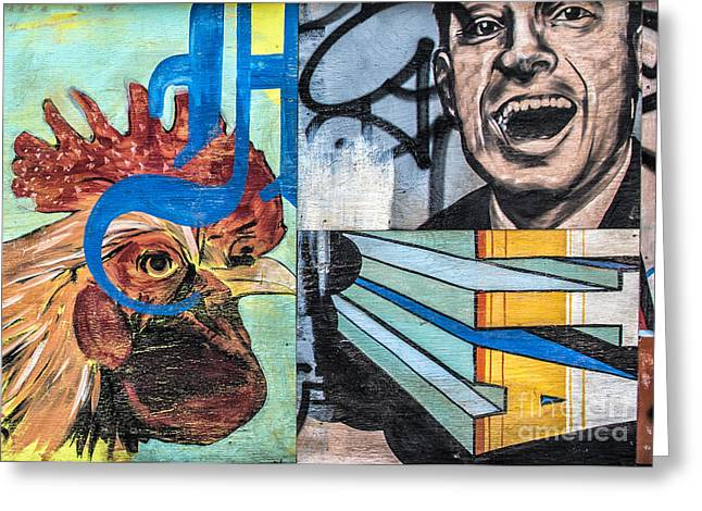 Mural Mixed Media Greeting Cards - Rooster and Man Graffiti Greeting Card by Terry Rowe