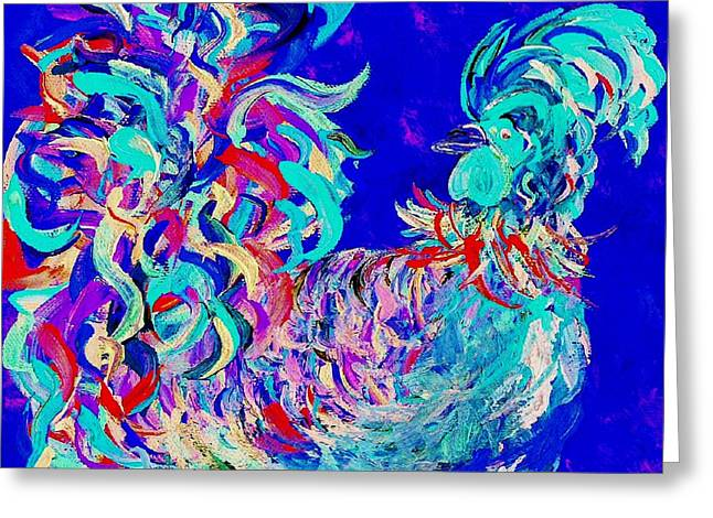 Whimsy Greeting Cards - Rooster Blues 2  Greeting Card by Eloise Schneider