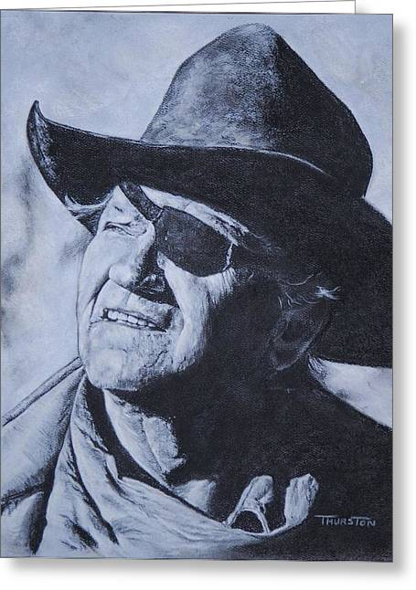 True Grit Drawings Greeting Cards - Rooster Cogburn Greeting Card by Denise Thurston Newton