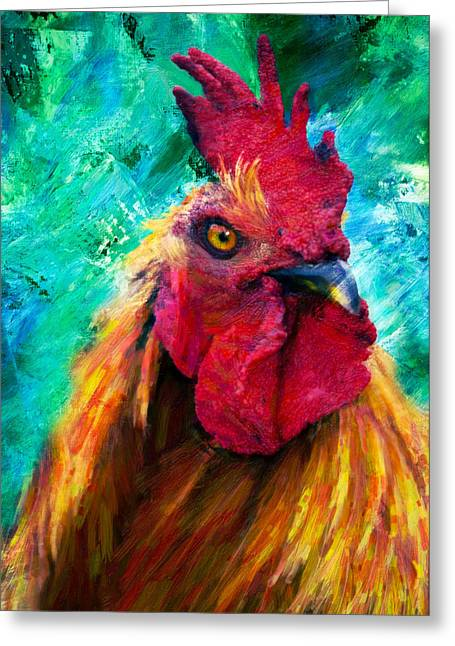 Fine Mixed Media Greeting Cards - Rooster Colorful Expressions Greeting Card by Georgiana Romanovna