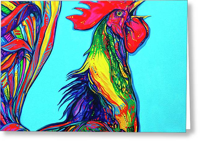 Wattle Greeting Cards - Rooster crow Greeting Card by Derrick Higgins