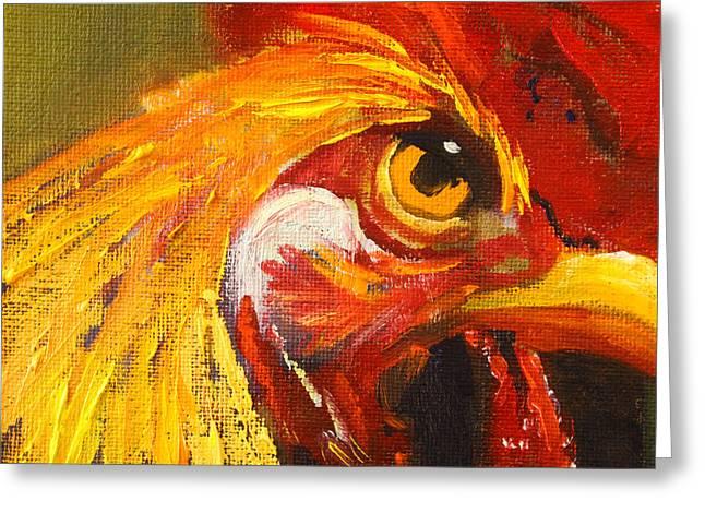 Close Up Paintings Greeting Cards - Rooster Eye Greeting Card by Nancy Merkle