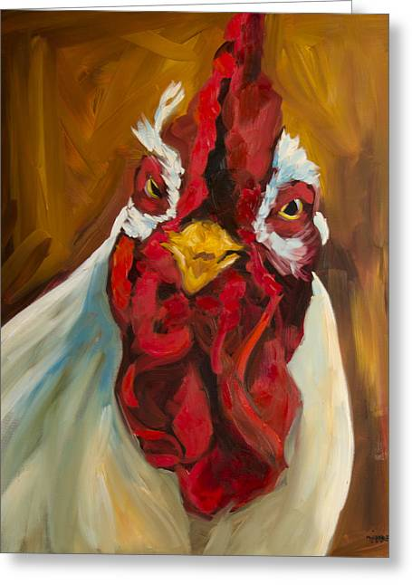Rooster Face Greeting Card by Diane Whitehead