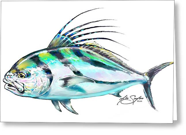 Savlen Greeting Cards - Rooster Fish Study Greeting Card by Mike Savlen