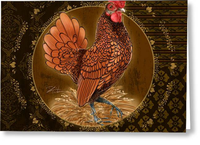 Coq Greeting Cards - Rooster Golden Greeting Card by Shari Warren