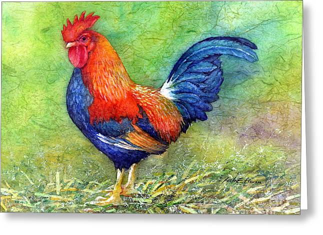 Nature Scene Paintings Greeting Cards - Rooster  Greeting Card by Hailey E Herrera