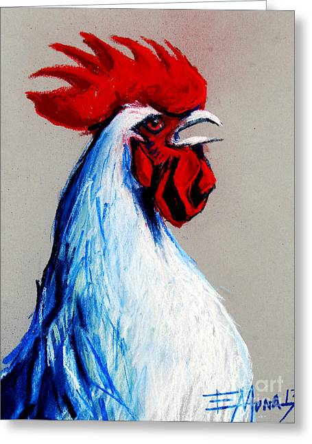 White Tail Pastels Greeting Cards - Rooster Head Greeting Card by Mona Edulesco