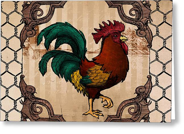 Cockerel Greeting Cards - Rooster I Greeting Card by April Moen