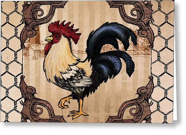 Cockerel Greeting Cards - Rooster II Greeting Card by April Moen
