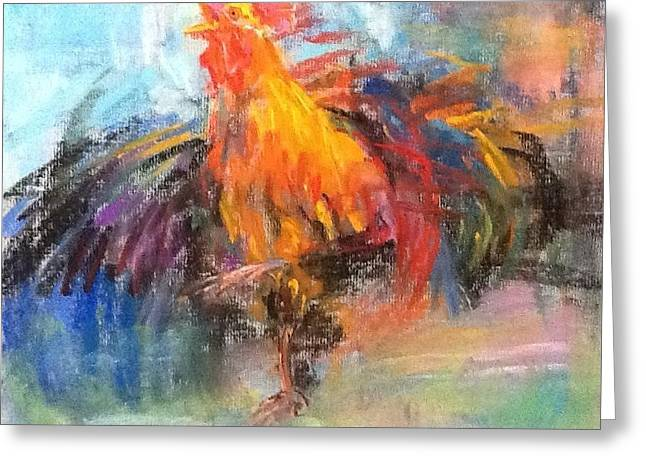 Rooster Pastels Greeting Cards - Rooster Greeting Card by Jieming Wang