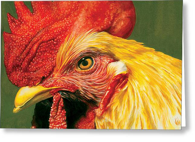 Technical Paintings Greeting Cards - Rooster Greeting Card by Kelly Gilleran