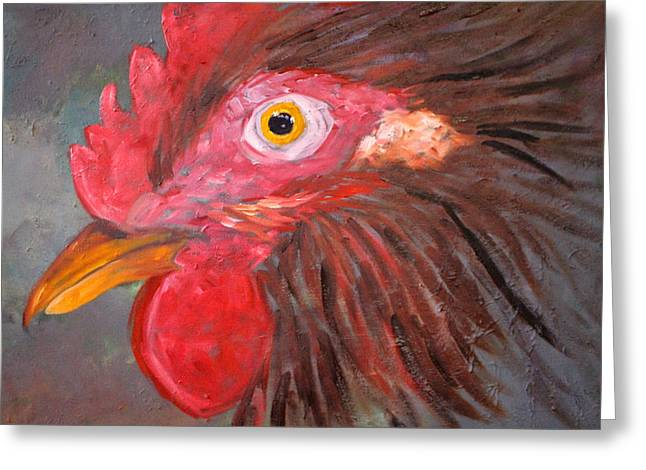 Clucking Greeting Cards - Rooster Greeting Card by Nancy Merkle