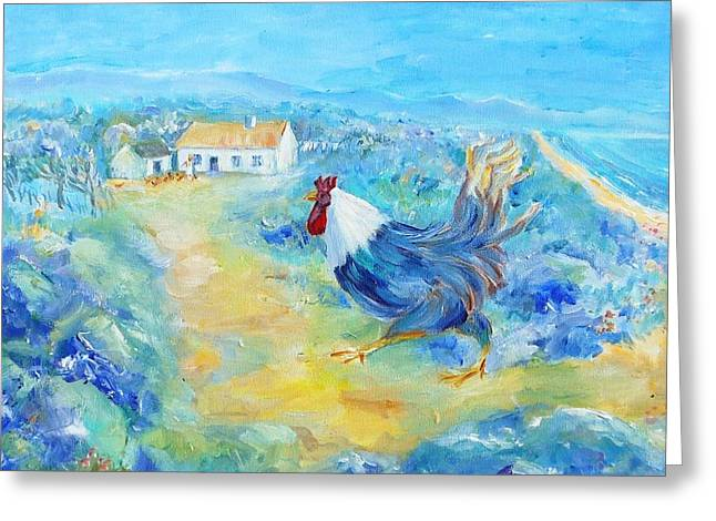 Rooster On Dingle Peninsula  Greeting Card by Trudi Doyle