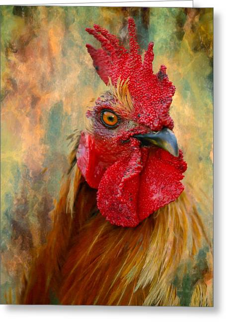 Cropped Mixed Media Greeting Cards - Rooster On The Loose - Abstract Realism Greeting Card by Georgiana Romanovna