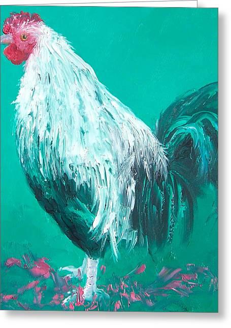 Animal Art Greeting Cards - Sebastian the Rooster Greeting Card by Jan Matson