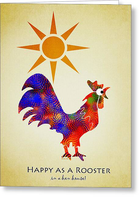 Rooster Pattern Aged Greeting Card by Christina Rollo