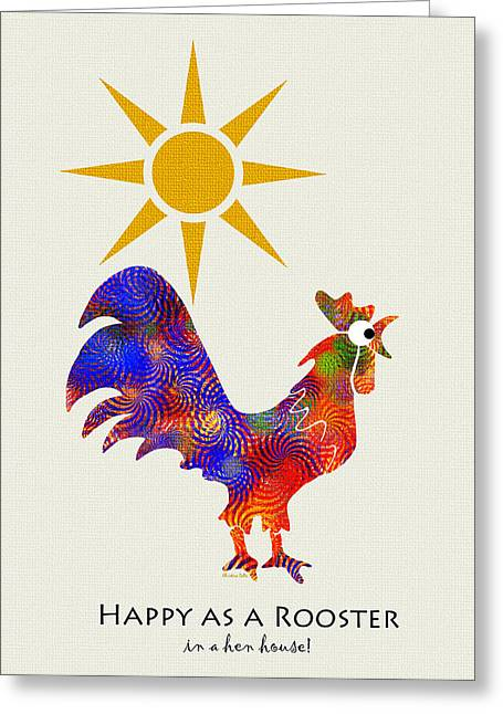 Rooster Pattern Art Greeting Card by Christina Rollo