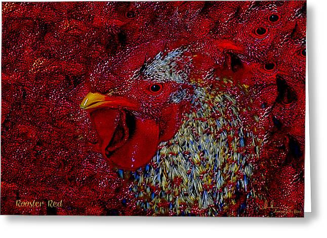 Western Greeting Cards - Rooster Red Greeting Card by Amanda Smith