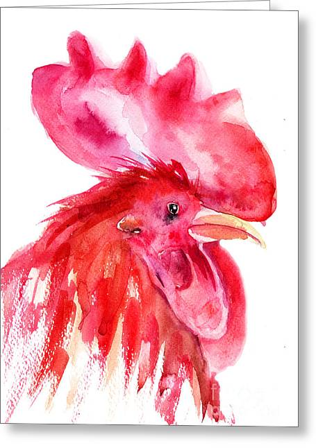 Zoology Paintings Greeting Cards - Rooster Greeting Card by Regina Jershova