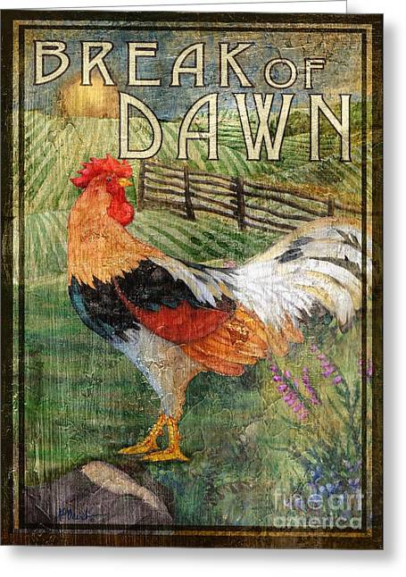 Rooster Signs 4 Greeting Card by Paul Brent