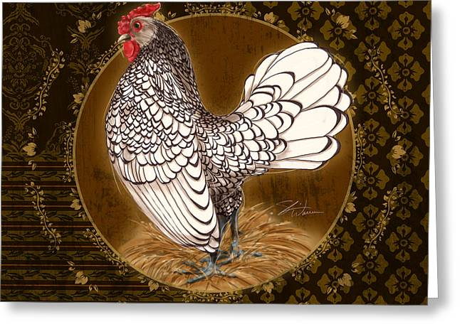 Coq Greeting Cards - Rooster Silver Greeting Card by Shari Warren