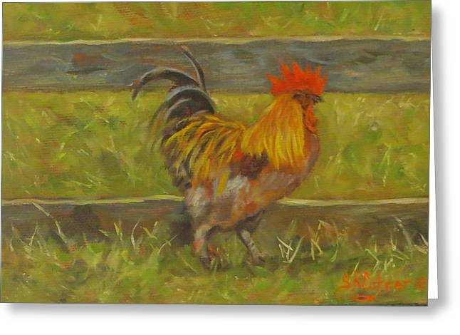 Chicken On Eggs Greeting Cards - Rooster Strut Greeting Card by Sandra Cutrer