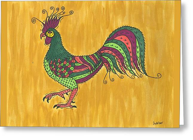 Susie Weber Greeting Cards - Rooster Strut Greeting Card by Susie Weber