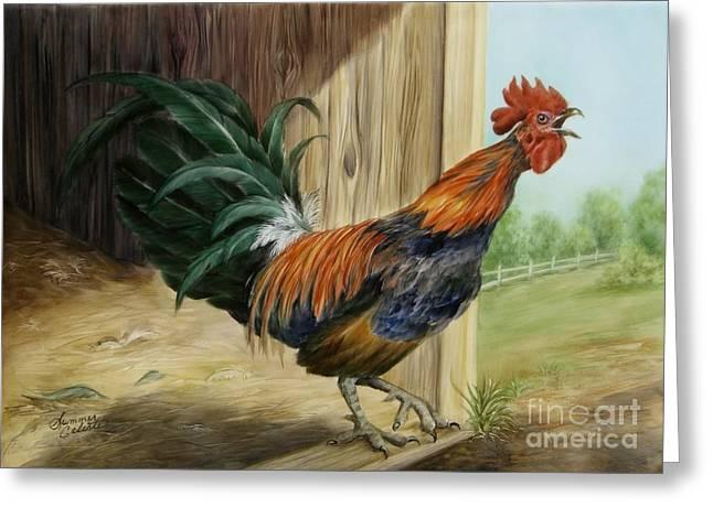 Summer Celeste Greeting Cards - Rooster Greeting Card by Summer Celeste