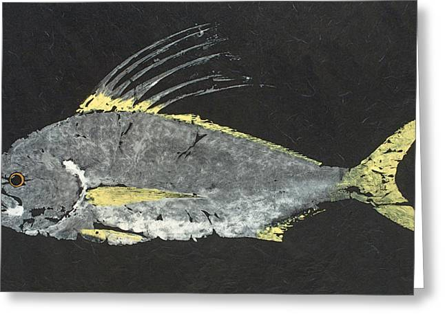 Gyotaku Greeting Cards - Gyotaku Roosterfish Greeting Card by Warren Sellers
