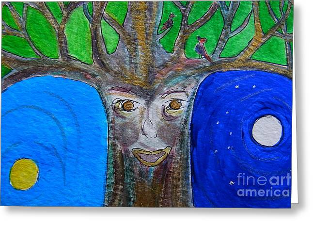 Tree Roots Paintings Greeting Cards - Rooted Greeting Card by Agnieszka Ledwon
