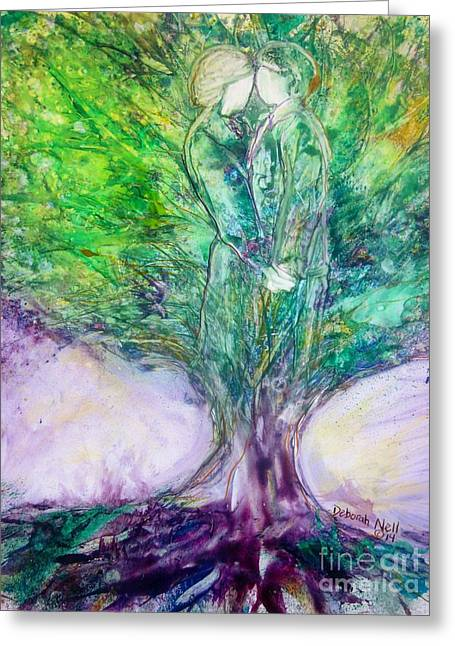 Tree Roots Paintings Greeting Cards - Rooted In Love Greeting Card by Deborah Nell