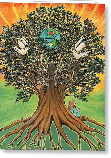 Ying Paintings Greeting Cards - Rooted In the Tree of Humaity Greeting Card by Janis  Cornish