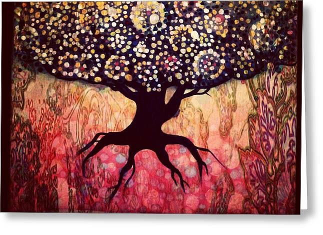 Tree Roots Paintings Greeting Cards - Roots and Buds Greeting Card by Ericka Adabashi