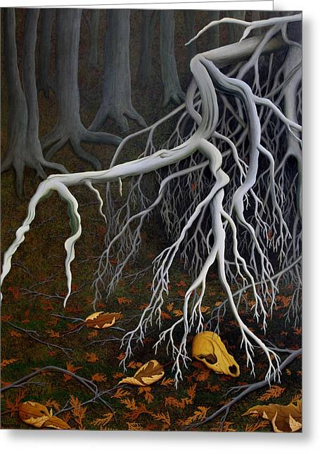 Tree Roots Paintings Greeting Cards - Roots Greeting Card by Dan Breakspear