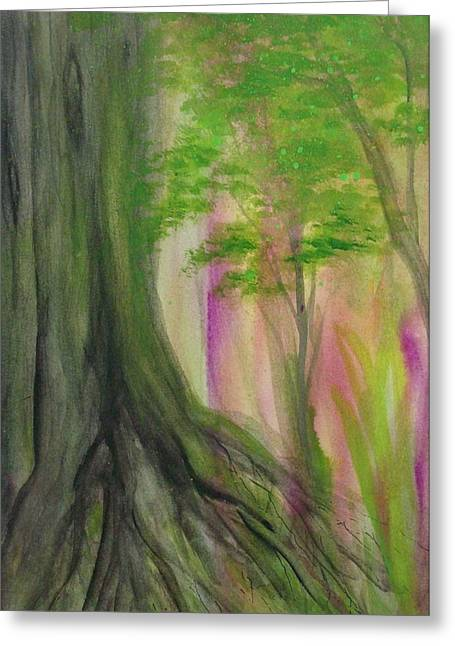 Tree Roots Paintings Greeting Cards - Roots Greeting Card by Flo Markowitz