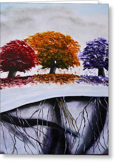 Tree Roots Paintings Greeting Cards - Roots Greeting Card by Marianne Eichenbaum