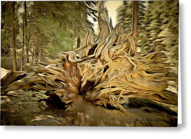 Tree Roots Art Greeting Cards - Roots Of A Fallen Giant Sequoia Greeting Card by Barbara Snyder