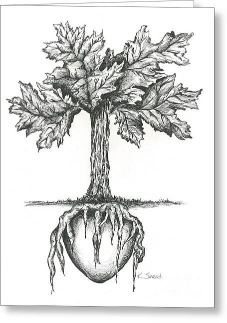 Oak Leaf Drawings Greeting Cards - Roots Of The Heart Greeting Card by Karen Sirard