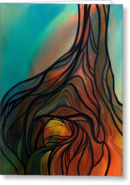 Tree Roots Paintings Greeting Cards - Roots of Tree by Clark Lake Greeting Card by Johanna Axelrod