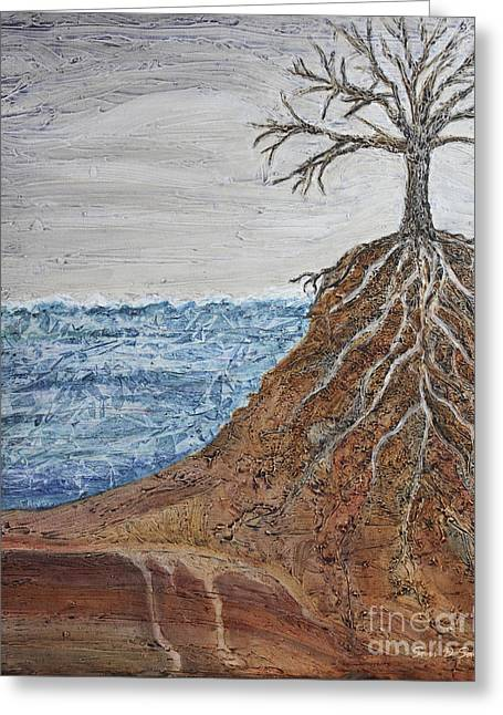 Tree Roots Paintings Greeting Cards - Roots Greeting Card by Sari Sauls